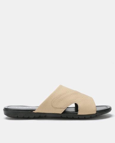 Utopia Mens Leather Sandals Beige