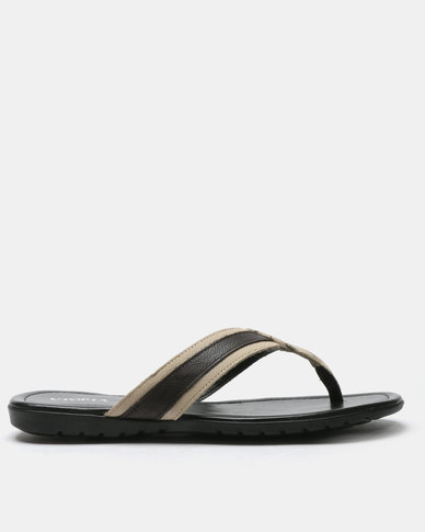 Utopia Mens Leather Thong Sandals Brown