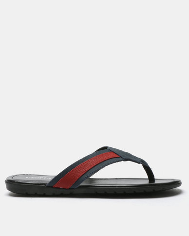 Utopia Mens Leather Thong Sandals Navy