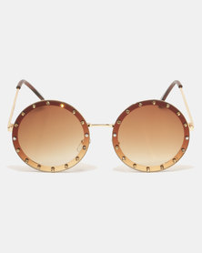 G Couture Glitsy 60's Shades Sunglasses Brown