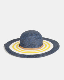 G Couture Stripe Straw Hat Yellow