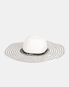 G Couture Stripe Straw Hat Navy