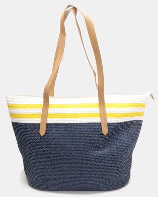 G Couture Stripe Straw Bag Yellow
