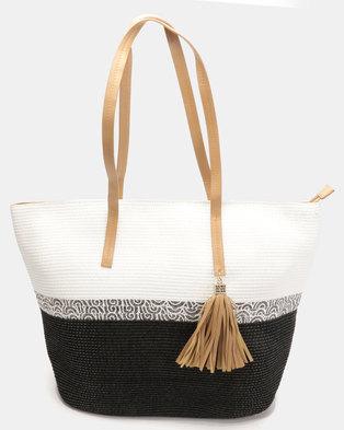 G Couture Straw Bag Black/White