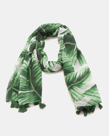 G Couture Palm Tree Tassel Scarf Green