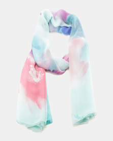 G Couture Printed Chiffon Scarf Blue