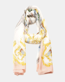 G Couture Printed Satin Scarf Pink/Gold