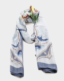 G Couture Printed Satin Scarf White/Blue
