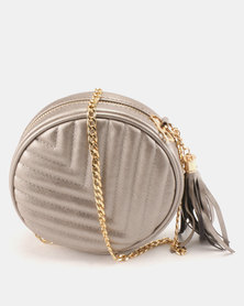 All Heart Circular CrossBody Bag Silver Metallic