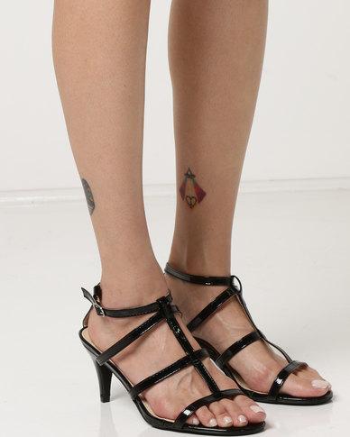 Utopia Kitten Heel Strappy Heels Black
