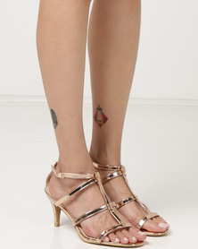 Utopia Kitten Heel Strappy Heels Rose Gold