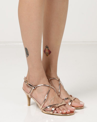 Utopia Strappy Heel Sandals Rose Gold