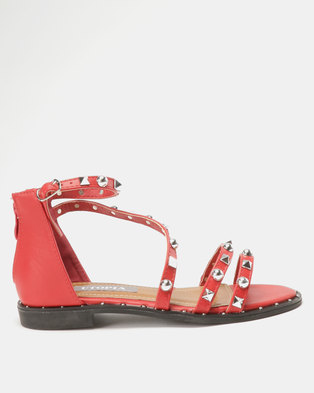 Utopia Studded Flat Sandal Red