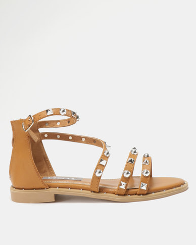 Utopia Studded Flat Sandals Camel
