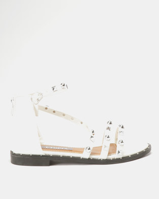 Utopia Studded Flat Sandals White