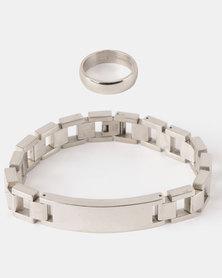 Xcalibur Steel Link Bracelet and Ring Set Silver-Toned