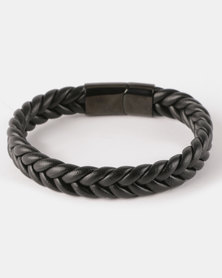 Xcalibur Steel PU Braided Bracelet Black Mono