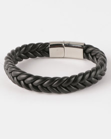 Xcalibur Steel PU Braided Bracelet Black