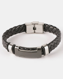 Xcalibur Steel PU Braided Bracelet Black With Silver Detail