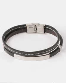 Xcalibur Simple Steel Double Band Bracelet Black/Silver-toned