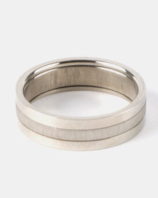 Xcalibur Steel Textured Band Ring Silver-Toned