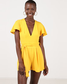 Sissy Boy Deep V-neck Detail With Open Back Detail Playsuit Yellow