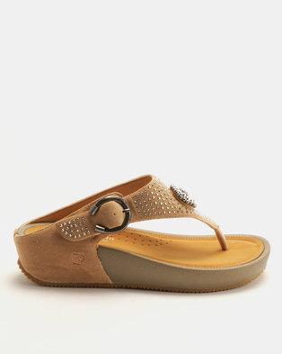 79ed9ea2810d Pierre Cardin Bejeweled Comfort Thong Sandals Beige