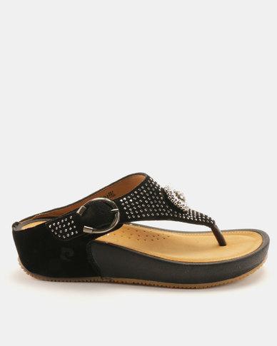 Pierre Cardin Bejeweled Comfort Thong Sandals Black