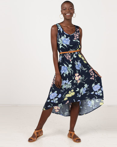 Revenge Belted Printed Dress Multi Navy