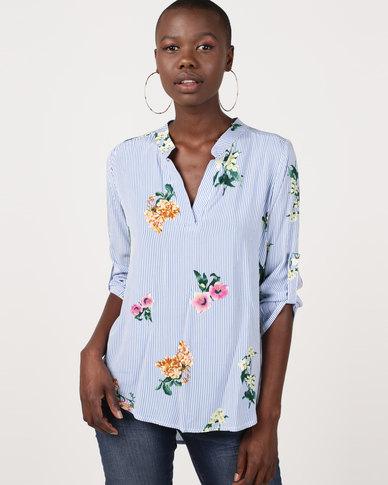 Revenge Striped Shirt With Flower Print Blue