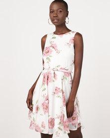 Revenge Belted Flared Dress Pink