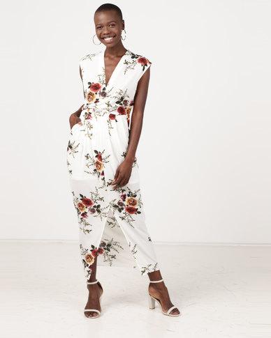 Revenge Mid Length V Neck Sleeveless Dress White