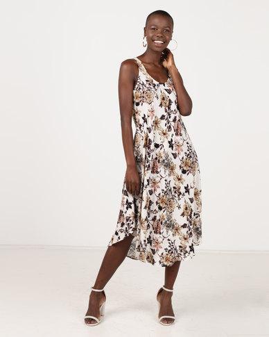 Revenge Mid Length Dress Multi Brown