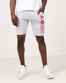 Unruly Printed Shorts Grey Mel/Red Print