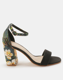 Queue Closed Back Block Heels Black Multi