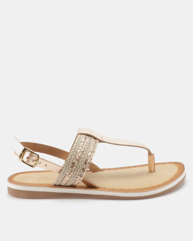 Queue Leather Braided Thongs With Sling Back Rose Gold/Beige