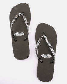 Chilloes Geometric Flip Flops Black