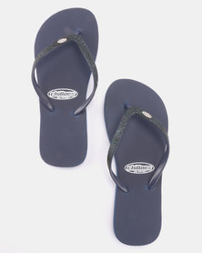 Chilloes Glitter Flip Flop Navy
