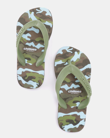c04dd5448 Chilloes Flip Flops Camo Khaki