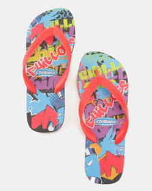 Chilloes Graffiti Flip Flops Red