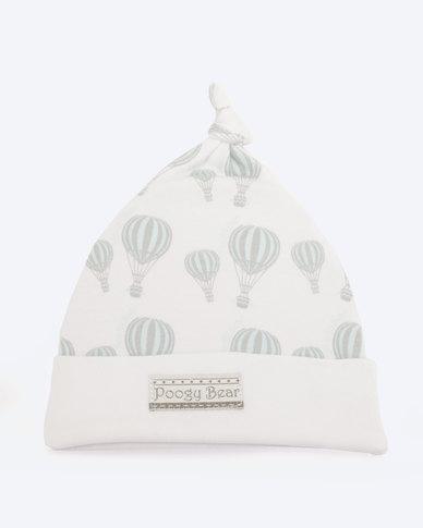 Poogy Bear Hot Air Balloon Top Knot Beanie Aqua