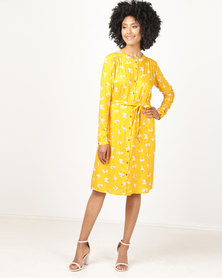 non-european® Soft Shirt Dress Mustard Mini Floral