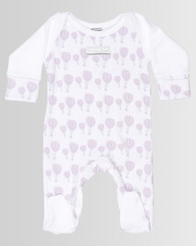 Poogy Bear Envelope Hot Air Balloon Babygrow Pink