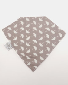 Poogy Bear Umbrellas Bandana Bib Grey