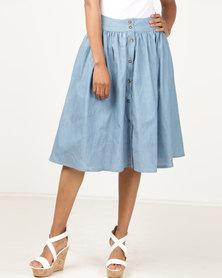 non-european® Buttoned Waistline Skirt LT Denim