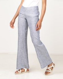 non-european® Ladies Linen Trouser Blue