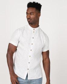 non-european® Buttoned Mandarin Shirt Vintage Stripe