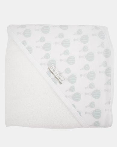Poogy Bear Hot Air Balloon Hooded Towel Aqua