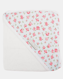 Poogy Bear Rose Floral Hooded Towel Pink
