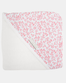 Poogy Bear Floral Hooded Towel Coral